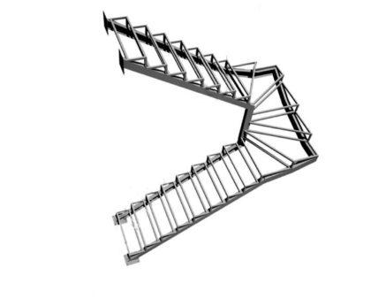 Лестницы из металла с забежными ступенями